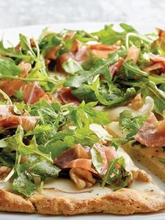 Plate with Pear, Prosciutto and Arugula Pizza featuring Stouffer's products